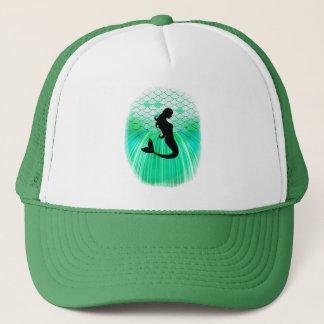 silueta de la sirena del cirlce gorra de camionero