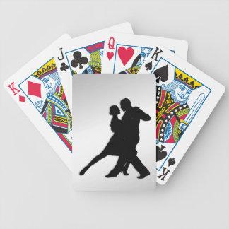 Silueta de los bailarines del tango baraja de cartas bicycle