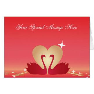 Silueta de los cisnes del corazón tarjeta de felicitación