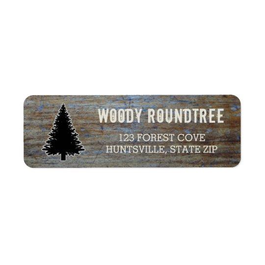 Silueta de madera rústica del árbol de hoja etiqueta de remite