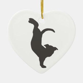Silueta de Pitbull del perro de la yoga Adorno Navideño De Cerámica En Forma De Corazón