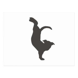 Silueta de Pitbull del perro de la yoga Postal