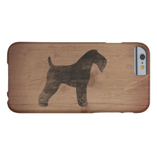 Silueta de Terrier de azul de Kerry rústica Funda Barely There iPhone 6