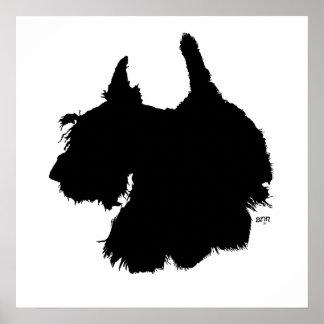 Silueta de Terrier del escocés Póster