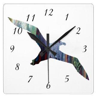 Silueta del animal del albatros reloj cuadrado