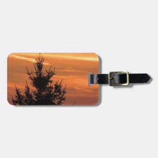 Silueta del árbol con puesta del sol etiqueta para maletas