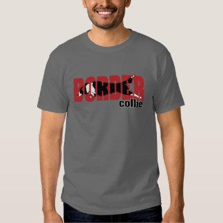 Silueta del border collie, saltando camiseta