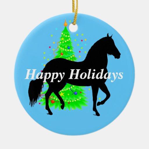 Silueta del caballo de Paso Fino buenas fiestas Adornos De Navidad