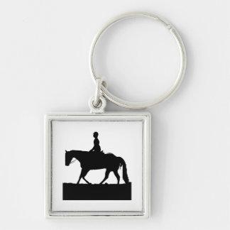 Silueta del caballo llavero cuadrado plateado