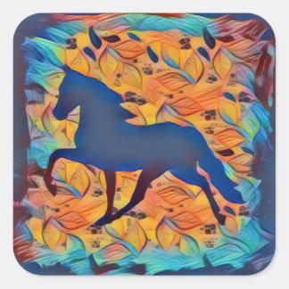 Silueta del caballo pegatina cuadrada