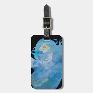 Silueta del cielo azul de la Mujer Maravilla Etiqueta Para Maletas