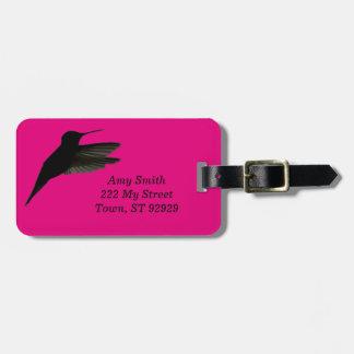 Silueta del colibrí etiquetas para maletas
