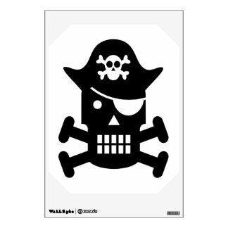 Silueta del cráneo del robot y del pirata de la