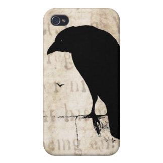 Silueta del cuervo - cuervos y cuervos retros del iPhone 4 coberturas