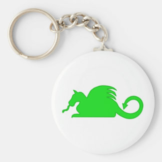 Silueta del dragón verde llavero