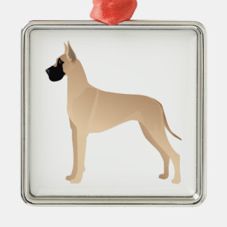 Silueta del ejemplo de la raza del perro de great adorno navideño cuadrado de metal
