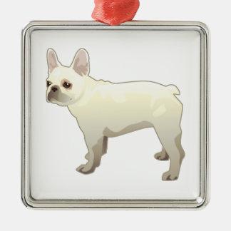 Silueta del ejemplo de la raza del perro del dogo adorno navideño cuadrado de metal