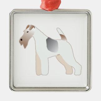 Silueta del ejemplo de la raza del perro del fox adorno navideño cuadrado de metal
