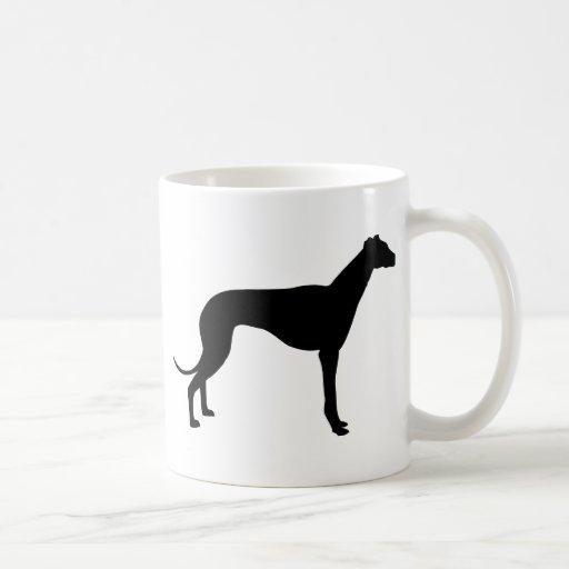 Silueta del galgo taza de café