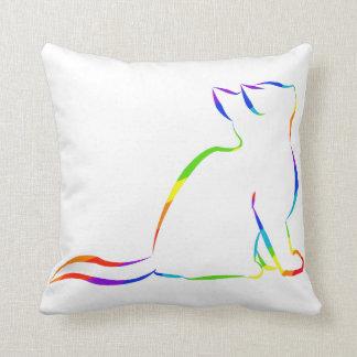 Silueta del gato del arco iris cojín decorativo