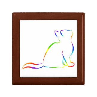Silueta del gato del arco iris joyero