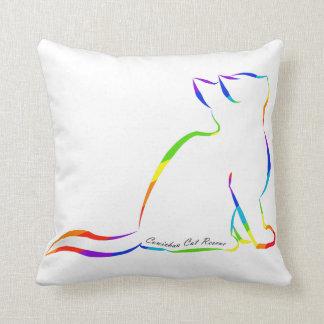 Silueta del gato del arco iris, texto interior cojín decorativo