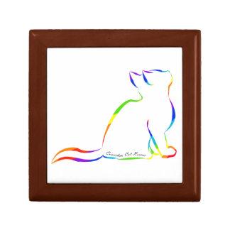 Silueta del gato del arco iris, texto interior joyero