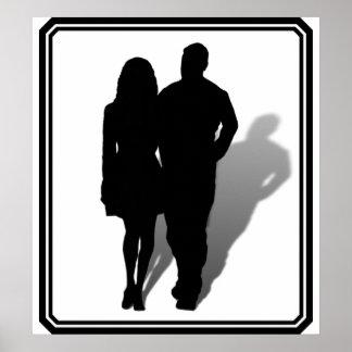 Silueta del hombre y de la mujer posters