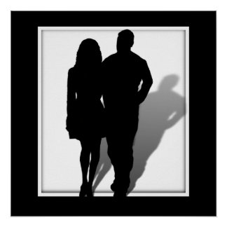 Silueta del hombre y de la mujer póster
