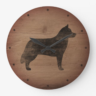 Silueta del husky siberiano rústica reloj redondo grande