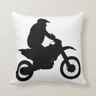 Silueta del motocrós cojín decorativo