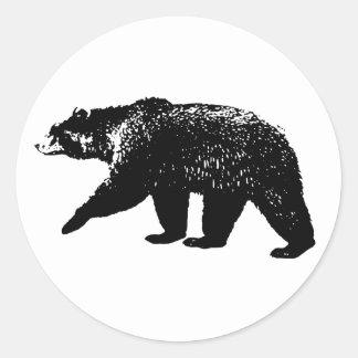 Silueta del oso negro, gráfico de Digitaces Pegatina Redonda