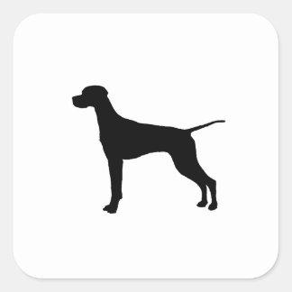 Silueta del perro de caza del indicador que se calcomania cuadradas personalizada