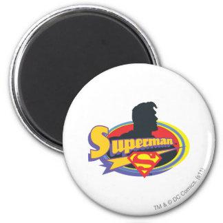 Silueta del superhombre imán redondo 5 cm