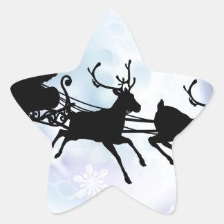 Silueta del trineo de la luna de Santa Pegatinas Forma De Estrella Personalizadas