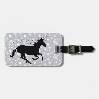 Silueta del unicornio etiquetas para maletas