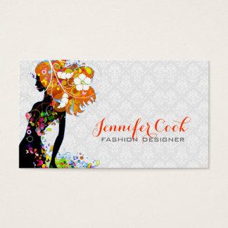 Silueta floral del chica de la moda colorida tarjeta de negocios