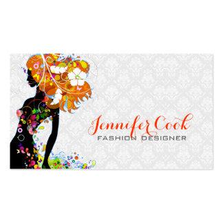 Silueta floral del chica de la moda colorida tarjetas de visita