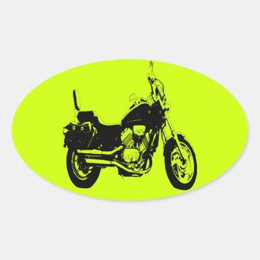 Silueta fresca de la bici de la motocicleta calcomania oval