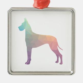 Silueta geométrica colorida del modelo de great adorno navideño cuadrado de metal