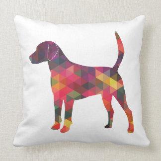 Silueta geométrica colorida del modelo del perro cojín decorativo