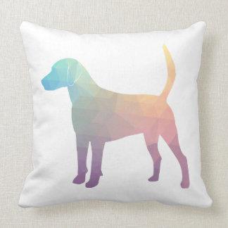 Silueta geométrica del perro de caza del beagle cojín decorativo