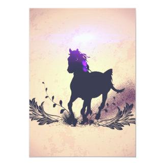 Silueta negra del caballo invitación 12,7 x 17,8 cm