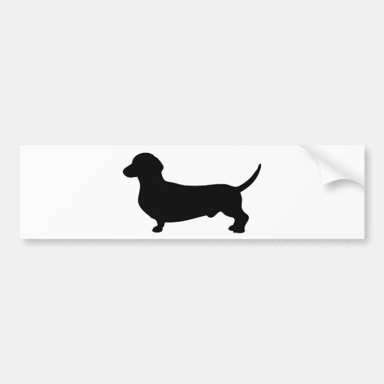Silueta negra linda del perro del Dachshund Pegatina Para Coche