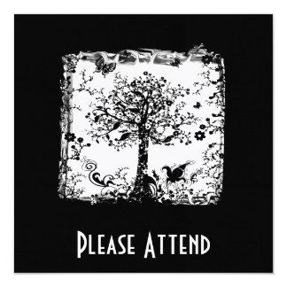 Silueta negra y blanca de la mariposa del árbol invitación 13,3 cm x 13,3cm