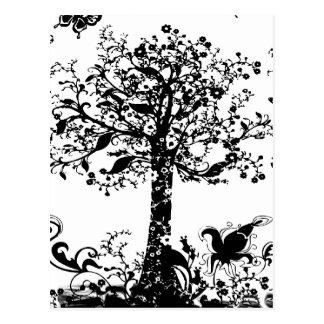 Silueta negra y blanca de la mariposa del árbol postal