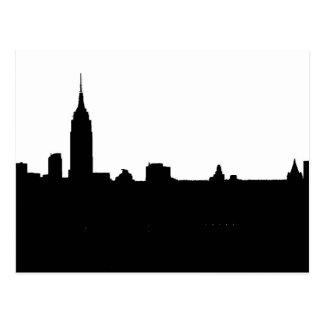Silueta negra y blanca de Nueva York Postal