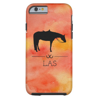 Silueta occidental negra del caballo en acuarela funda resistente iPhone 6