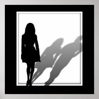 Silueta que falta del hombre de la mujer poster