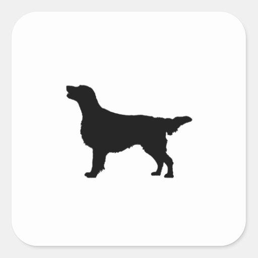 Silueta revestida plana del perro de caza de calcomania cuadradas